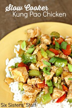 Slow Cooker Kung Pao Chicken on SixSistersStuff.com - throw it in your crock pot in a matter of minutes and dinner is done!