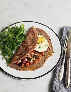 BUCKWHEAT CREPES WITH SWEET POTATO HASH