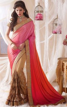 Picture of Beauteous Beige and Pink Color Fashion Designer Saree