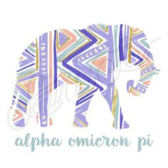 Alpha Omicron Pi   AOII   AOPi   Tribal Elephant Tee Shirt Design   South by Sea   Greek Tee Shirts   Greek Tank Tops   Custom Apparel Design   Custom Greek Apparel   Sorority Tee Shirts   Sorority Tanks   Sorority Shirt Designs
