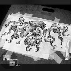 Octopus Tattoo Design, Octopus Tattoos, Octopus Art, Tattoo Designs, Time Tattoos, Body Art Tattoos, Sleeve Tattoos, Tatoos, Tattoo Sketches