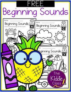 Free Alphabet Beginning Sounds Printables Kindergarten Freebies, Kindergarten Reading, Kindergarten Teachers, Beginning Sounds Kindergarten, Elementary Teacher, Alphabet Worksheets, Alphabet Activities, Alphabet Letters, Teaching Resources