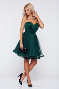 Ana Radu darkgreen occasional corset dress with push-up cups Tulle Bows, Strapless Dress Formal, Formal Dresses, Product Label, Nasa, Push Up, Corset, Dressing, January
