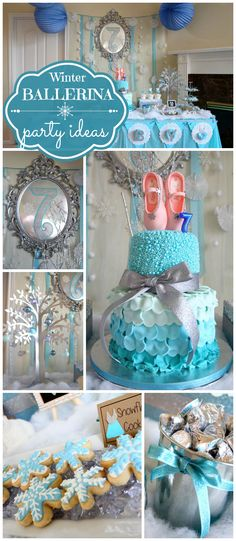 A blue and white winter ballerina birthday party with DIY decorations done on a budget! See more party planning ideas at CatchMyParty.com!