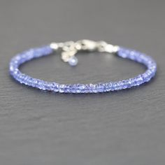 Tanzanite Beaded Bracelet in Sterling by EllaArtisanJewellery