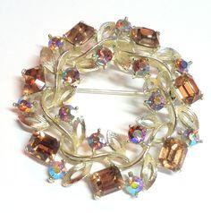 Wreath Shaped Brooch w/ Aurora Borealis Crystals circa 1960s - Dorothea's Closet Vintage