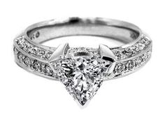 Vintage Style Trillion Engagement Ring 0.90 tcw. In 14K white gold Not sure I like or don't ???