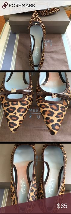Lambertson Truex leopard pony skimmer NIB Elegant leopard print pony skimmer trimmed in chocolate brown leather and silver signature LT logo. Shoes were display pair and never worn but inside brown footbed has bled into the blue. Otherwise, shoes are pristine / NIB. Includes shoe box and bag. Lambertson Truex are the duo designing Tiffany's handbags. Size 37.5, generally TTS. Lambertson Truex Shoes Flats & Loafers