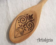 "Wood burned wooden spoon ""The kitchen is the heart of the home"", Anniversary…"
