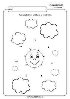 Spájanie bodiek. Slnko. - Aktivity pre deti, pracovné listy, online testy a iné