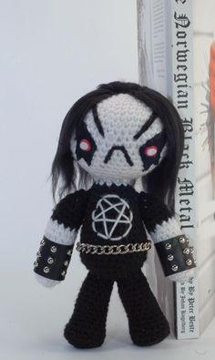 """CUSTOM Grimm the Little Black Metal Dude """"Antigurumi"""" amigurumi figure. $70.00, via Etsy."""