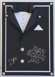 21st Birthday card male: Upikit brads and Docrafts shimmer dots; Message cut on the Cameo