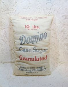 Early Domino Sugar Co Advertising Bag Cloth Sack 10 LB Size ~ a Vintage Touch $12.00