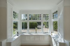 Internal shot of a square bay window fitted with windows Timber Windows, Sash Windows, Casement Windows, Windows And Doors, Bay Window Exterior, Cottage Windows, Traditional Windows, Square Windows, House Extension Design