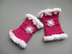 Kinder Pulswärmer lila pink Schneeflocke 3-6 Jahre von Bouton de Fleur auf DaWanda.com