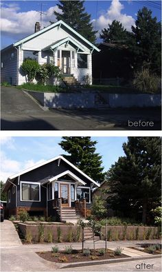 Home Renovation Exterior 10 Inspiring Before and After Exterior MakeoversBECKI OWENS - Today I am sharing some before and after action! These ten exterior makeovers are full of ideas on how you can give your own home a facelift. Exterior Colors, Exterior Paint, Exterior Design, Diy Exterior, Stucco Exterior, Home Exterior Makeover, Exterior Remodel, Before After Home, Black House Exterior