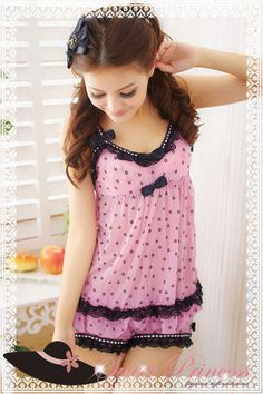 Pajama Set: Lace-Trim Patterned Top + Shorts, Pink , One Size - Sweet Princess | YESSTYLE Australia