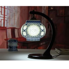 Ofhead modern chinese style antique vintage wood cutout porcelain lamp ceramic lamps #Affiliate