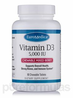 Vitamin D3 5000 IU (Chewable Mixed Berry) 90 Tablets by EuroMedica  Supports Overall Health, Strong Bones, and Immune System* 2,500 IU or 5,000 IU  • Vitamin D3 is the body's preferred form  of Vitamin D • Many clinical trials have demonstrated the  vast health benefits of Vitamin D • Maintaining healthy levels of Vitamin D in the body  has been shown to be an important part of optimal health • Vitamin D supports strong bones, teeth, and a healthy  immune system*