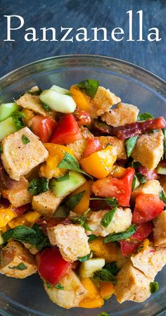 Classic Italian Panzanella Bread Salad! Such a beautiful way to use fresh garden tomatoes, cucumbers, and basil.