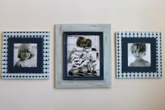 Distressed Picture Frame Set of 3, Gallery of 2-12x12 and 1-16x20 Midnight Blue and Robins egg on Notre Dame Grey