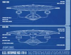 Blueprint schematic, bow and stern views, of U.S.S. Enterprise NCC-1701 D