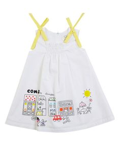Look what I found on #zulily! White & Yellow Shirred Sleeveless Dress - Infant, Toddler & Girls #zulilyfinds