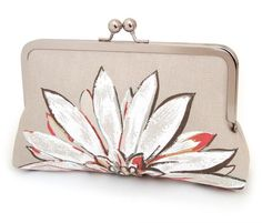 White flower clutch purse bag with gold silk lining by redrubyrose, $85.00