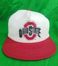 brand new 744ea 003af Vtg Ohio State University Buckeyes Snapback Hat Trucker Cap Made in USA OSU.