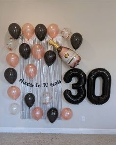 30th Birthday Party Themes, 30th Birthday Balloons, 30th Birthday Ideas For Women, 30th Party, Diy 30th Birthday Decorations, Thirty Birthday, 32 Birthday, Champagne Birthday, Birthday Woman