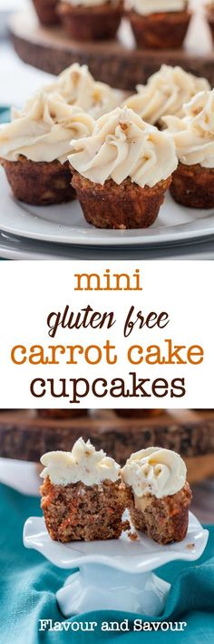 These tender, moist mini gluten-free carrot cake cupcakes are made without grains or refined sugar. Baked with almond flour and coconut flour, they're naturally sweetened with pineapple and maple syrup. You won't need any special equipment to mix up a batch of these one-bite cupcakes. Great for kids' lunches. #glutenfree #moist #onebite #almondflour #pineapple #pecans #maple #creamcheese #frosting
