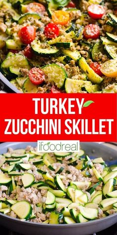 This 30 Minute Healthy Ground Turkey Zucchini Skillet with Pesto is delicious low carb one pot dinner recipe that will become your family's favourite! Minimum ingredients and effort with maximum flavour. Ground Turkey And Zucchini Recipe, Healthy Ground Turkey, Ground Turkey Recipes, Healthy Turkey Recipes, Healthy Family Meals, Clean Eating Recipes, Healthy Eating, Cooking Recipes, Turkey Dishes