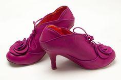 Irregular Choice Fushia Leather Booties with Rosette | eBay