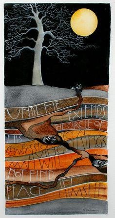 Compassion By Sam Cannon Art Watercolour, pen and gouache on paper www.samcannonart.co.uk