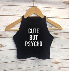Süße aber Psycho Damen Zuschneiden Top-Mode Quote Blogger Weste Top RockOnRuby Black White