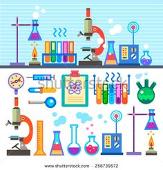 Chemical Laboratory in flat style Chemical Laboratory. Medicine and Science. Experiments. Tubes, microscope, liquid. Tools, materials, equipment. Vector flat  illustrations and background - stock vector