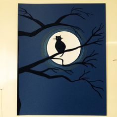 Halloween elem project: teach students how to draw silhouettes of owl, bat, and cat. Draw branches. Voila! :)