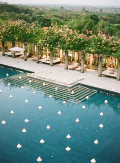 Are you having a backyard wedding? We have 21 wedding pool party decoration ideas for your big wedding day! Pool Wedding, Bali Wedding, Wedding Set, Wedding Bride, Wedding Reception, Rustic Wedding, Wedding Flowers, Wedding Dresses, Pool Party Decorations