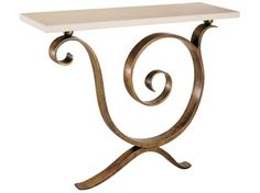 Aegean Console Table - Polished nickel or solid natural bronze with limestone top, wall mounted. Dimensions: h820 w1100 d300 Finishes: Polished Nickel, Natural Bronze