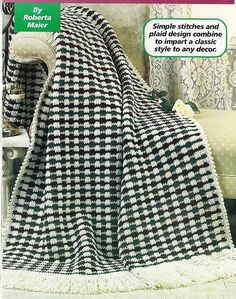 Victorian Plaid Afghan Crochet Pattern Blanket Throw Home Decor P-308 by PatternMania3 on Etsy