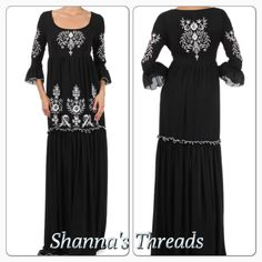 Long Black Embroidered dress Shannasthreads.com