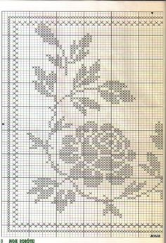World crochet: Tablecloth 263 Filet Crochet Charts, Crochet Cross, Crochet Art, Crochet Stitches, Cross Stitch Borders, Cross Stitch Charts, Cross Stitch Embroidery, Cross Stitch Patterns, Crochet Table Runner
