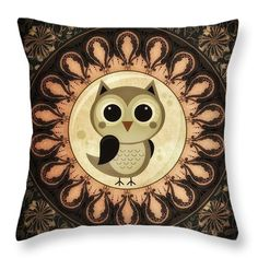 Vector Throw Pillows - Owl Art Throw Pillow by Todd and candice Dailey