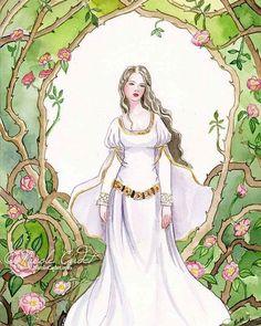 @femmethouart fairytale art - Briar Rose. Up for auction for the next week. Follow link from #femmethouart profile . .  #watercolor #watercolour #painting #illustration #fairytaleart #artcollective #australianartist #sleepingbeauty #medievalfantasy