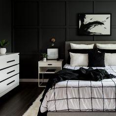 Monochrome Bedroom Ideas 2019 A Monochrome Modern Bedroom Reveal Black White And Grey Bedroom, Black Bedroom Design, Black Bedroom Decor, Monochrome Bedroom, Room Design Bedroom, Room Ideas Bedroom, Small Room Bedroom, Master Bedroom, White Decor