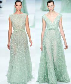 Vestidos en tono menta | Mint and Peach Wedding Inspiration (Elie Saab)