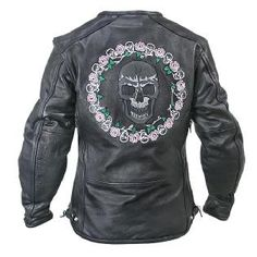 Xelement Womens XS-1958 Armored Leather Jacket with Glow-in-the-Dark Skull (back side) Wear this jack all the time.  Awesome ventilation.