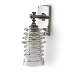restoration hardware / Watt Wall Mounted Single Arm Sconce with Ribbed Glass Shade / for downstairs bath