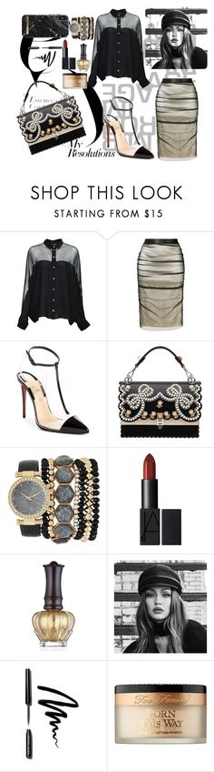 """#PolyPresents: New Year's Resolutions"" by verlacomplacencia ❤ liked on Polyvore featuring Gucci, Tom Ford, Christian Louboutin, Fendi, Jessica Carlyle, Anna Sui, Maybelline, Bobbi Brown Cosmetics, Too Faced Cosmetics and contestentry"