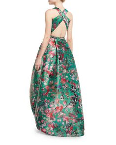 Monique Lhuillier - Sleeveless Floral Mikado High-Low Gown (Malachite) (b)
